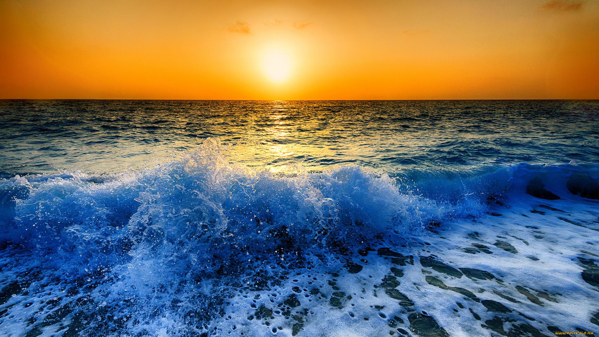 Обои волны, горизонт. Природа foto 10